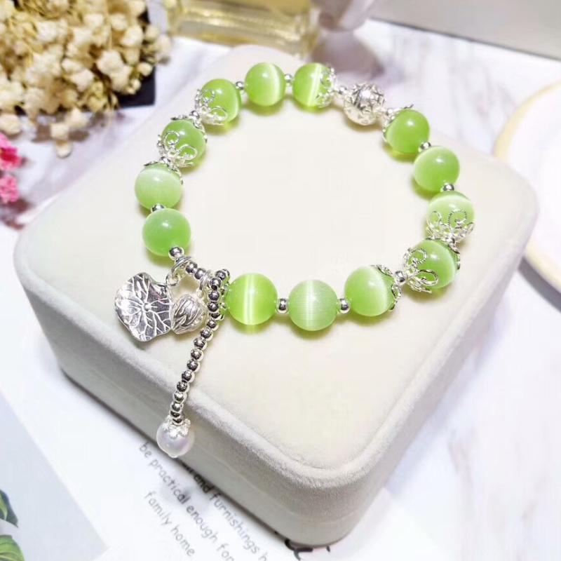 Srebrna Biżuteria Damskie Kupię Naturalny Z Frędzlami Bransoletki Kryształ Pure Srebrny Zielony