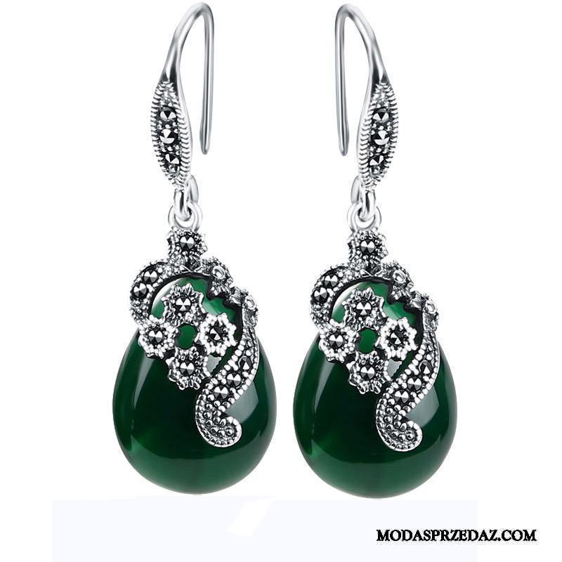 Srebrna Biżuteria Damskie Online Zima Vintage Eleganckie Akcesoria Długa Sekcja Srebrny Czerwony Zielony