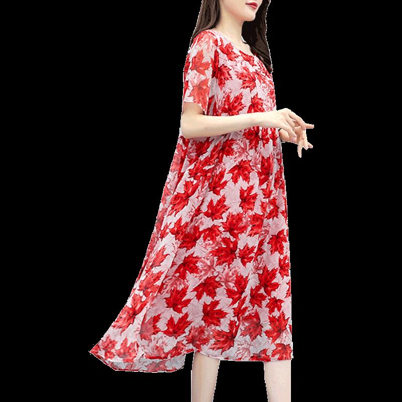 Sukienka Damskie Kup Damska Dla Otyłych Cienkie Duży Rozmiar Czerwony