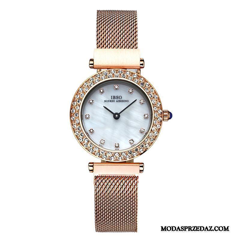 Zegarek Na Rękę Damskie Kup Moda Damska Lekki Luksus Siatkowe Cienkie Złoty Czerwony