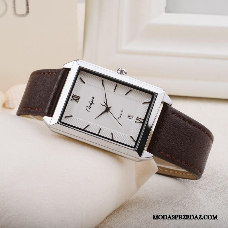 Zegarek Na Rękę Damskie Online Moda Męska Kwadratowy Damska Kalendarz Brązowy