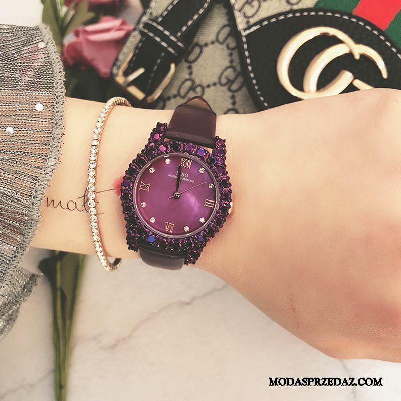 Zegarek Na Rękę Damskie Sklep Nowy Moda Z Kryształkami Trendy Shell Fioletowy