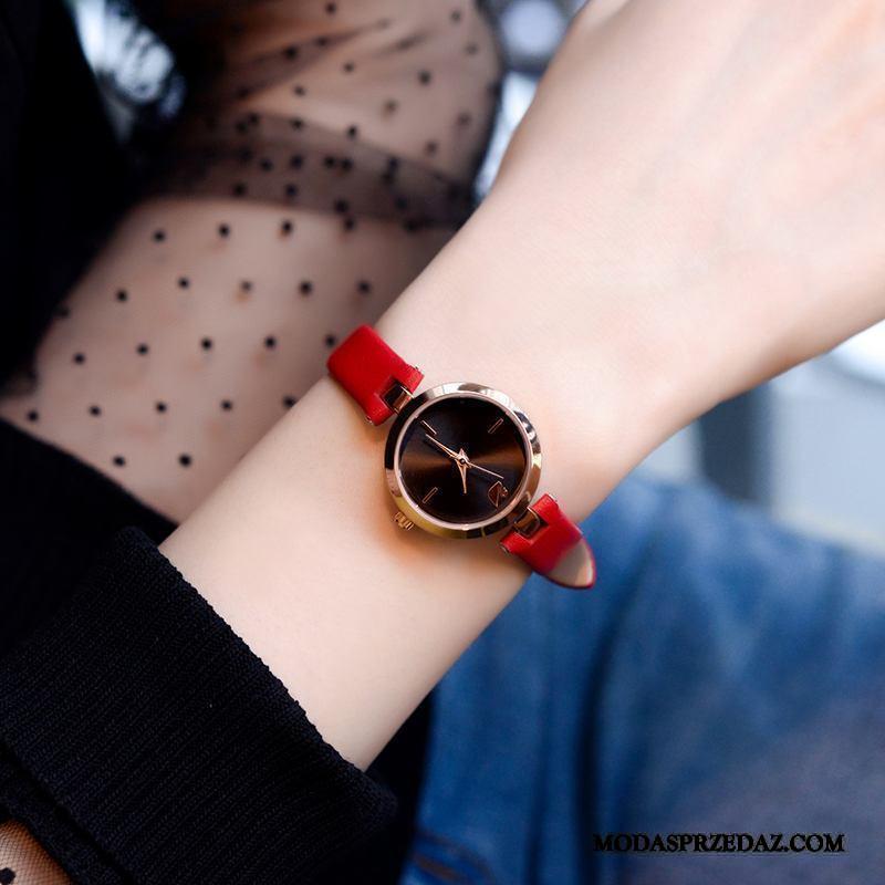 Zegarek Na Rękę Damskie Sprzedam Zegarek Kwarcowy Prosty Prawdziwa Skóra Student Casual Czerwony