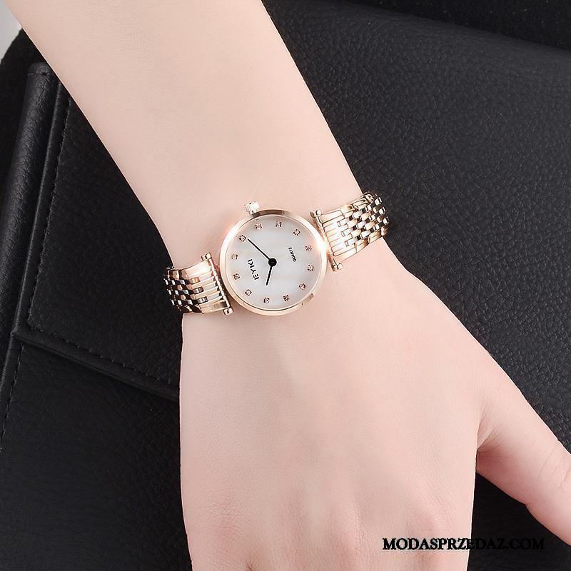 Zegarek Na Rękę Damskie Tanie Eleganckie Damska Vintage Prosty Trendy Złoty