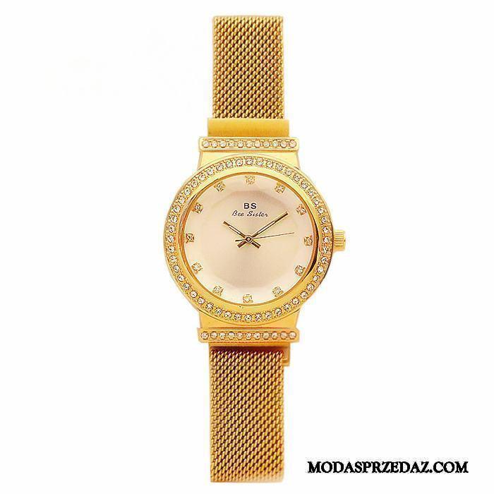 Zegarek Na Rękę Damskie Tanie Trendy Oryginalne Prosty Siatkowe Moda Złoty Czerwony