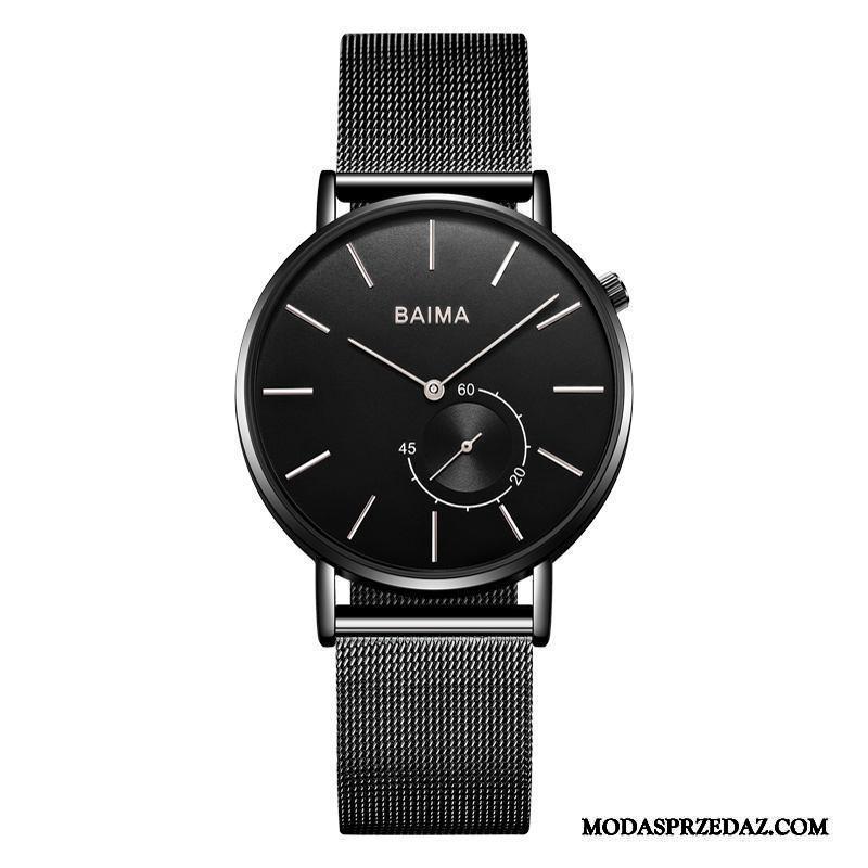 Zegarek Na Rękę Męskie Dyskont Trendy Moda Zegarek Kwarcowy Prosty Sportowe Czarny