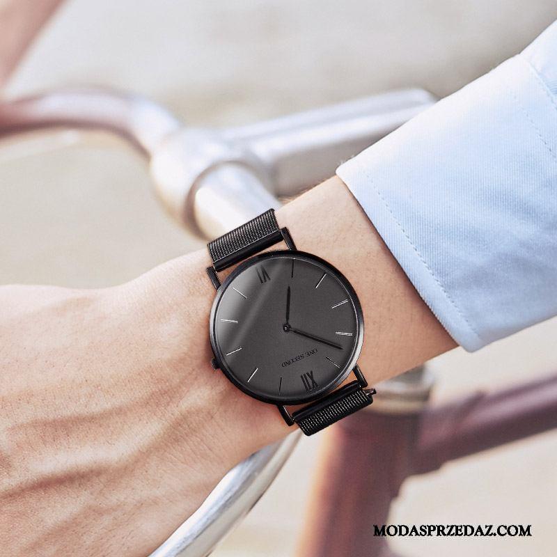 Zegarek Na Rękę Męskie Kupię Casual Student Cienkie Prosty Zegarek Kwarcowy Czarny