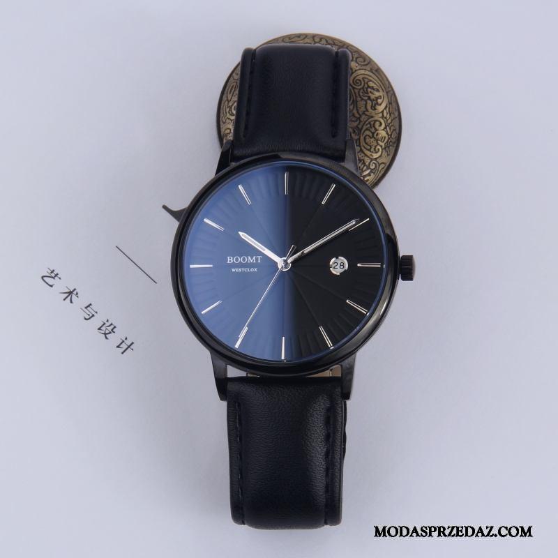 Zegarek Na Rękę Męskie Oferta Trendy Prawdziwa Skóra Męska Moda Wodoodporny Czarny