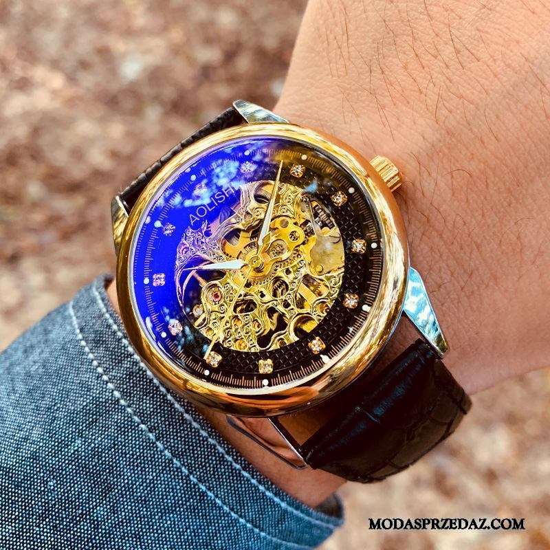 Zegarek Na Rękę Męskie Online Trendy Casual Nowy Automatycznie Rhinestone Złoty Czarny