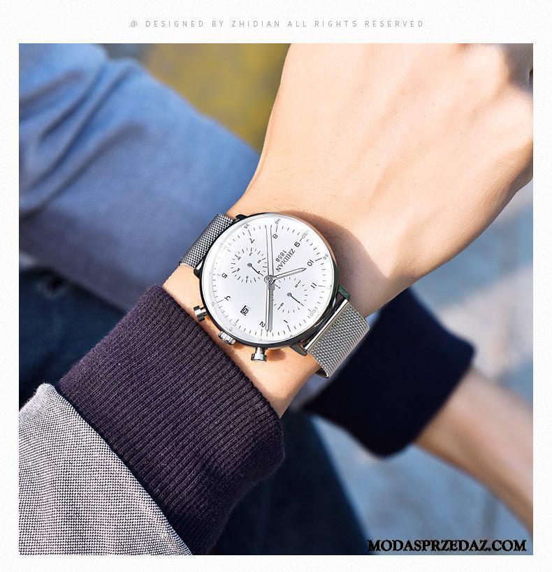 Zegarek Na Rękę Męskie Sklep 2019 Męska Moda Student Wodoodporny Srebrny Biały