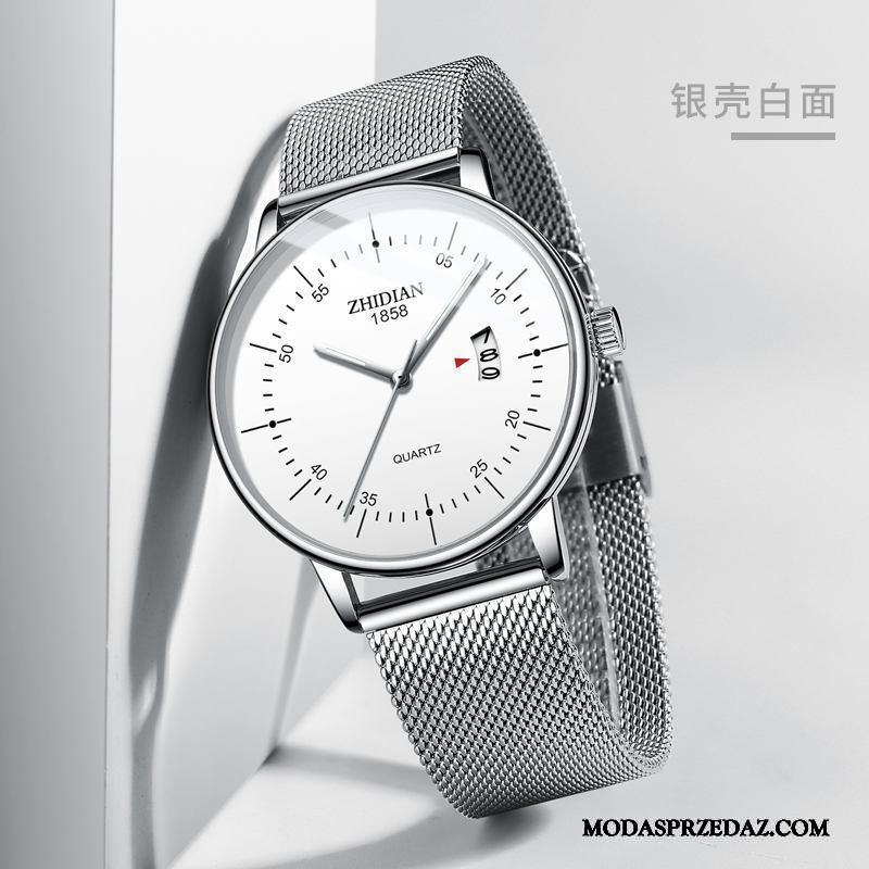 Zegarek Na Rękę Męskie Sklep Trendy Oryginalne Prosty 2019 Męska Srebrny Biały