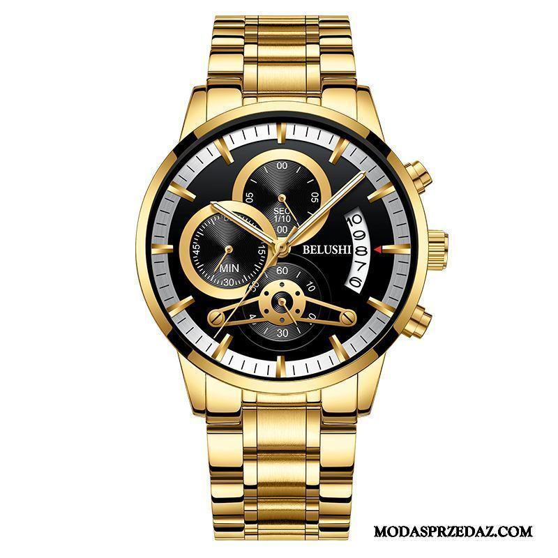 Zegarek Na Rękę Męskie Tanie Automatycznie Pasek Student Świecące Męska Złoty Czarny