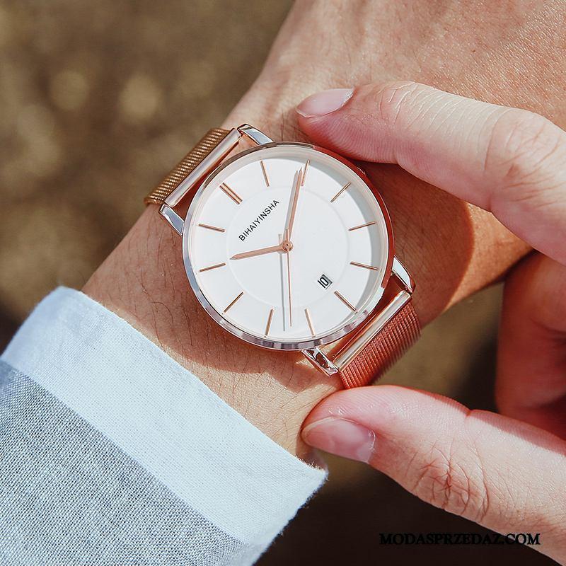 Zegarek Na Rękę Męskie Tanie Wodoodporny Casual Moda Prosty Student Złoty Biały